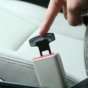 2Pcs Car Carbon Fiber Safety Seat Belt Alarm Stopper Clip Clamp Universal