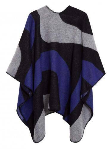 Urban CoCo Women/'s Color Block Shawl Wrap Open Front Poncho Cape