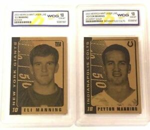 PEYTON-MANNING-amp-ELI-MANNING-2003-WCG-GEM-MINT-10-23KT-GOLD-ROOKIE-CARD-LOT
