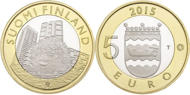 Finland 5 euro 2015 UNC HEDGEHOG Animals of Provinces UUSIMAA BIMETALLIC