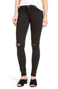 Hudson Women Super Skinny Jeans Ripped Distressed Mid Rise Black Size 28, 31 NEW