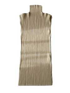 Issey Miyake Pleats Please High Neck Tank Top Sleeveless Beige Size 3