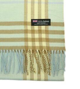Womens 100/% CASHMERE Warm Scarf Teal Big Plaid Vintage Design MADE IN SCOTLAND