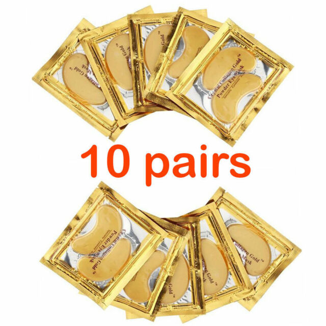 10X Pairs Anti Aging Dark Circle Collagen 24k Gold Eye Patches Pad Mask Bag Gel