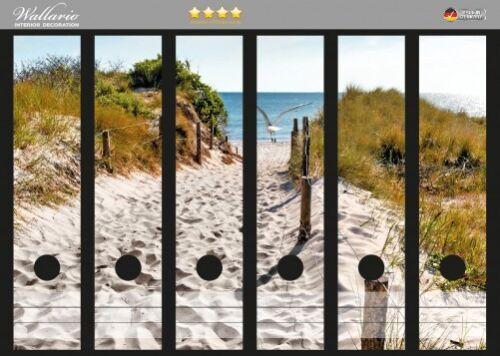 Wallario Ordnerrücken selbstklebend für 6 breite Ordner Weg zum Strand Zaun