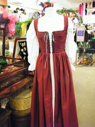 renaissance handmade OVER dress ONLY burgandy many sizes theater quaility