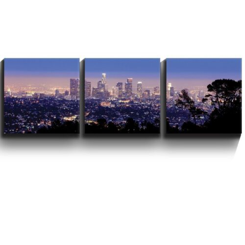 """Three Gallery Wrapped Printed Piece 16/""""x16/"""" x 3 Los Angeles skyline in evening"""