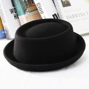 Men's Wool Porkpie Hat Roll up Brim Trilby Wool Hat Pork Pie Derby Fedora Hat