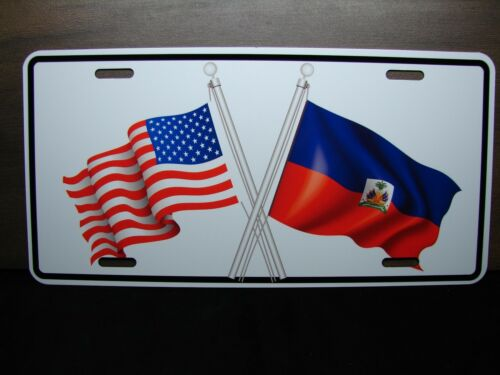 HAITI AMERICAN FLAG METAL NOVELTY LICENSE PLATE TAG FOR CARS DRAPEAU DE HAÏTI