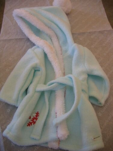"18/"" American Girl Doll Clothes HOODED CHRISTMAS BATHROBE Pale Green  NEW"