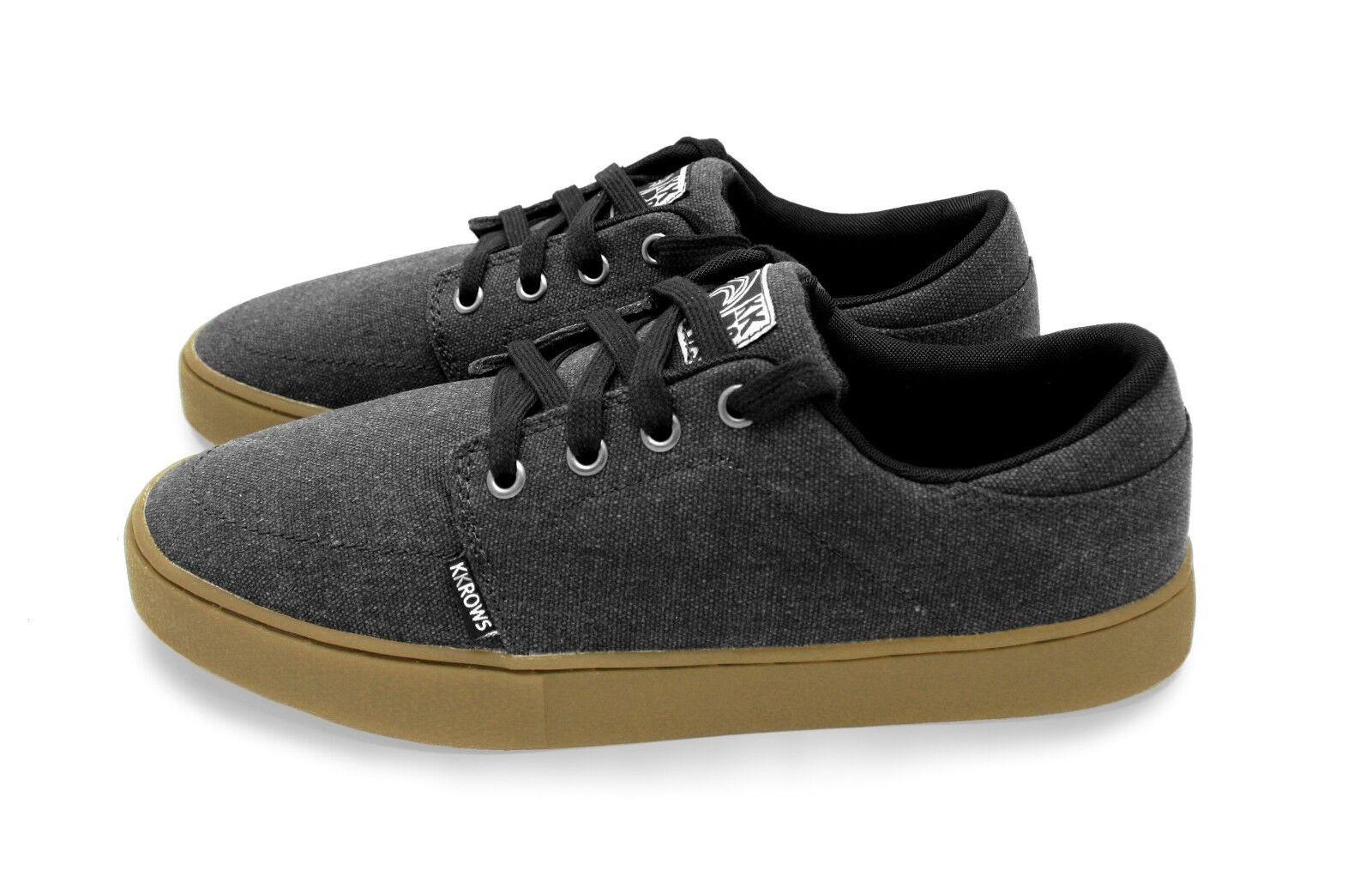 Kemp  chaussures  by kKrows.  noir  / Dark  gris . Skate Casual Low Profile. Girls / femmes