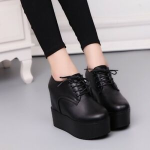 Womens-Creepers-Platform-Lace-Up-Wedge-Oxfords-Ladies-Chunky-Heels-Brogue-Shoes