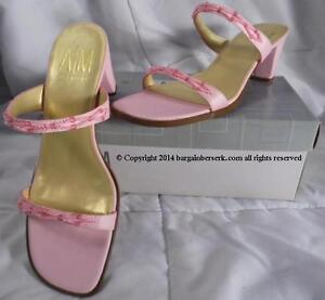 new a m ann marino baby pink size 7 5m 2 banded beaded slides w box