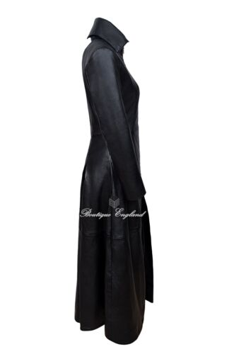 Vampire length Leather 20 Ladies Full Flare 8 Black Size Coat 100 IIrqO