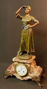 Aa 19ème Superbe Horloge Pendule à Poser 62cm Marbre Statuette Bronze Régule Laissons Nos Produits Aller Au Monde