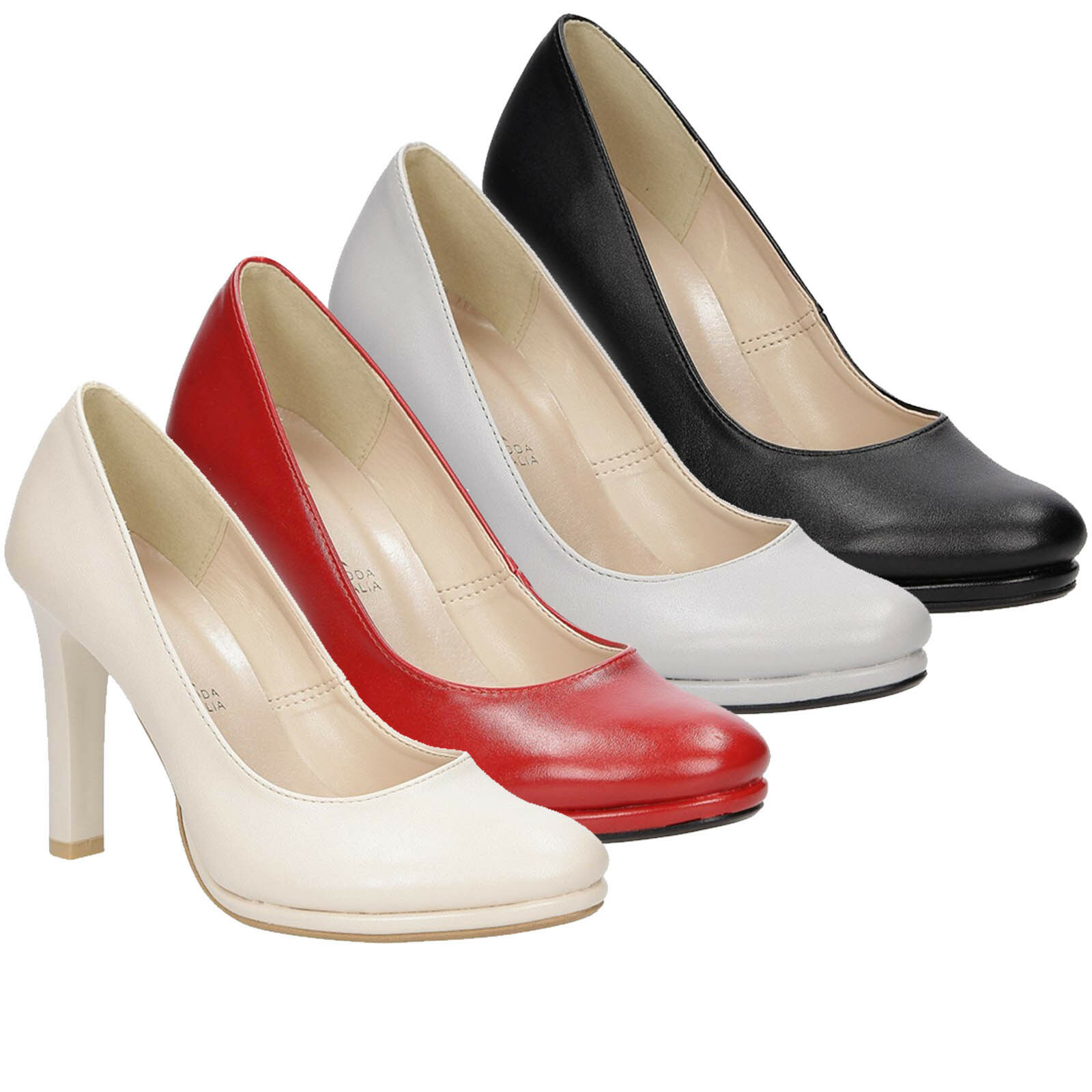 Damen Pumps Blockabsatz Elegant Modisch High Heels Komfortable Gr. 34-43 NEU