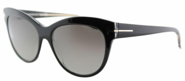 457fda800648 Authentic Tom Ford TF 430 Lily 05D Black Cat-Eye Sunglasses Grey Polarized  Lens