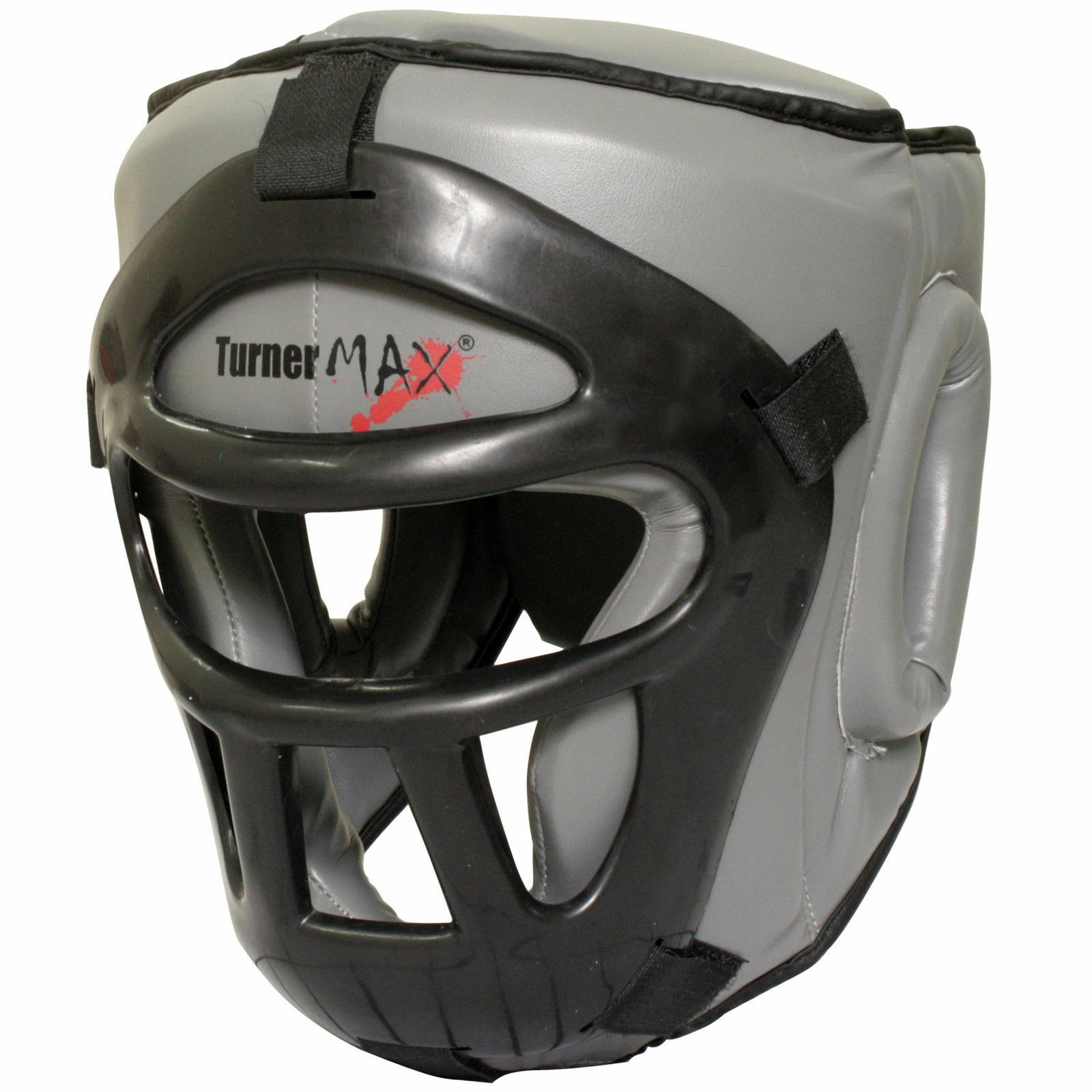 TurnerMAX Head Guard Boxing Protection Helmet with Removable Face Mask Grey