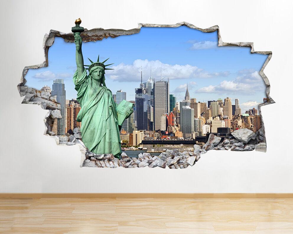 Statua della Libertà di New York City Orizzont adesivo da parete camera bambini