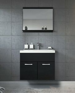 Détails sur Meuble de salle de bain de Montréal 02 Noir - Armoire de  rangement Meuble lavabo