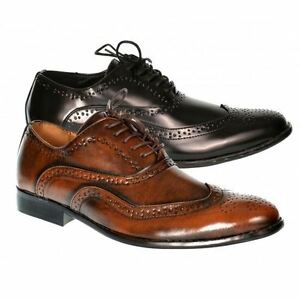 d959ef300a78 Mens smart shoes wedding italian formal office work brogues black ...