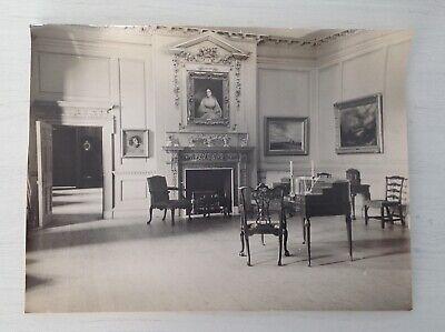 Vintage 10x14 Black White Photo Mansion Living Room Historic