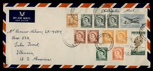 DR WHO 1955 NEW ZEALAND HIGHBURY AIRMAIL TO USA QEII PAIR  f94286