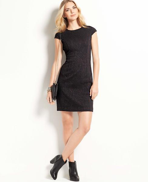 NWT Ann Taylor Knit Floral Jacquard Cap Sleeve Dress 10