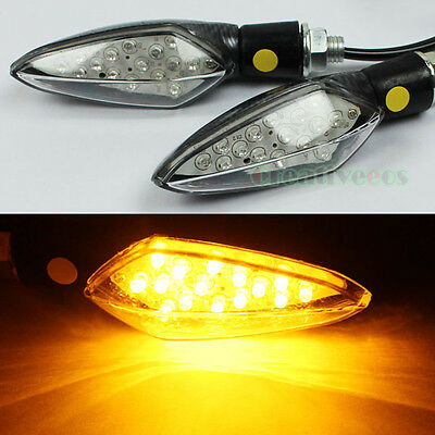 2x Amber Yellow Motorcycle Scooter Turn Signals LED Turn Signal Indicators Light