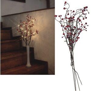led weidenzweige berrybranch beleuchtet mit 24 leds led zweige deko leuchte ebay. Black Bedroom Furniture Sets. Home Design Ideas