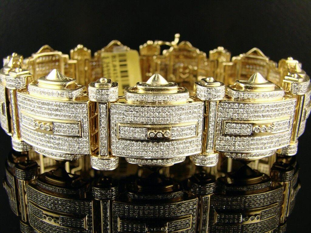 Da Uomo Vs Vs Vs Icy oro Giallo con Diamante Braccialetto Bracciale 15 Kt 6ed282