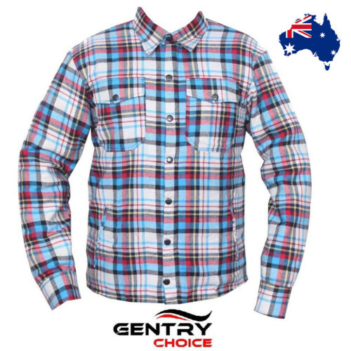 Motorcycle Riding Flannel Reinforced Bikers Blue Red Black Checker Armored Shirt