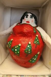Art-Whimsical-OOAK-Handmade-Snowlady-034-Christmas-Tree-Dancer-034-Paper-Mache-Art