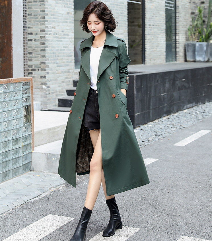 Womens Autumn Fashion Lapel Double-breasted Windbreakers Casual Trench Overcoat