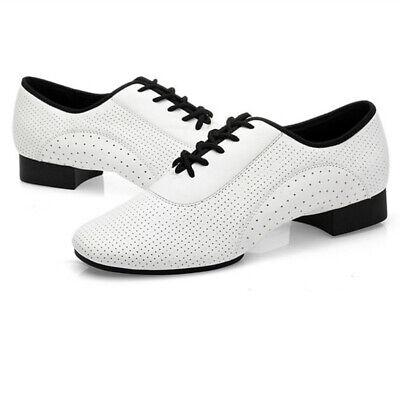Mens Waltz Tango Salsa Ballroom Black Leather Mid Heel Latin Lace-up Dance shoes
