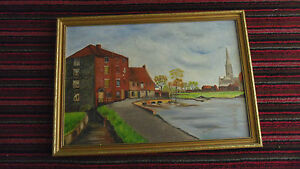 Missionary-Auction-Superb-Oil-On-Board-Framed-Signed-Dated-Harnham-Mill