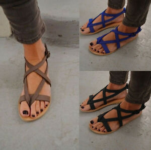 94a7194dd28b Image is loading Summer-Womens-Thong-Sandals-Roma-Gladiator-Strappy-Ladies-