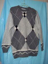 Chamonix Argyle Sweater Womens Med. Gray/Black/White Silk/Nylon/Angora/Lambswool