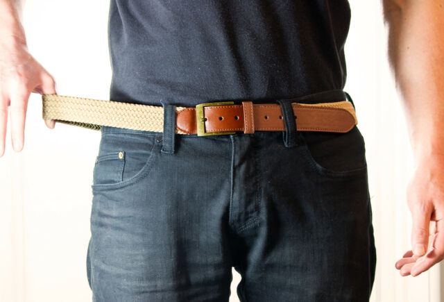 "Big Mens Elastic Beige Brown Stretch belt XXL 2XL 40"" - 46"" Comfortable and soft"