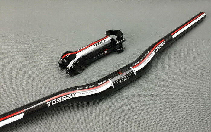 Carbon 31.8580-760 MTB XC AM Road Bike Riser Bar Handlebar 7  stem 60-110mm Red