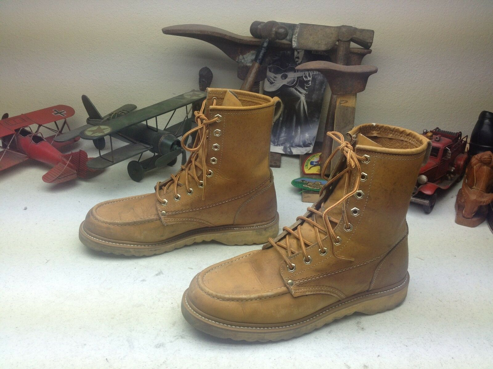 DISTRESSED MONTGOMERY WARDS MUSTARD LEATHER ENGINEER PACKER CHORE BOOTS 10.5 E