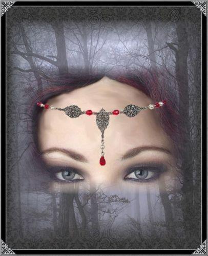 Gothic TIARA DIADEMA frontale gioielli Medioevo Red Pearl testa GIOIELLI ROSSO