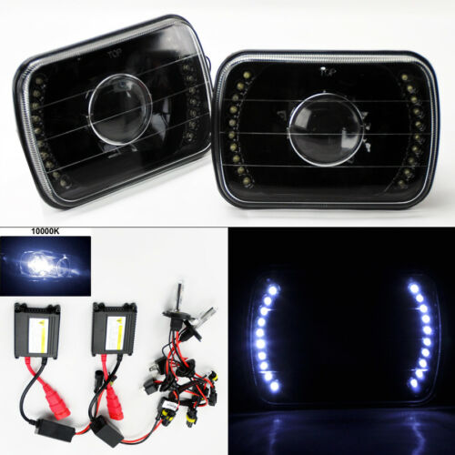 """7X6/"""" 10K HID Xenon H4 LED DRL Projector Black Glass Headlight Conversion Chevy"""
