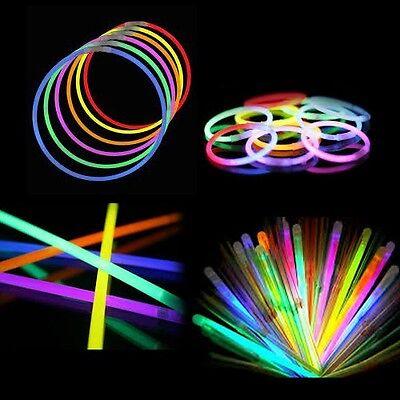 """100 8"""" Glow Sticks Bracelets Neon Light Colors Party Favors Raves EDC"""