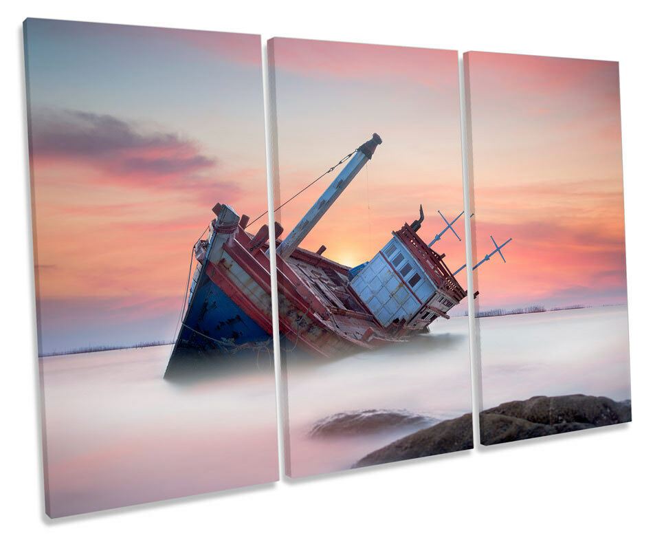 Beached Fishing Boat Sunset Picture TREBLE CANVAS WALL ART Print