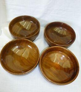 Set of 4 Handmade Walnut Bowls (Footed) Signed  Dated Vintage