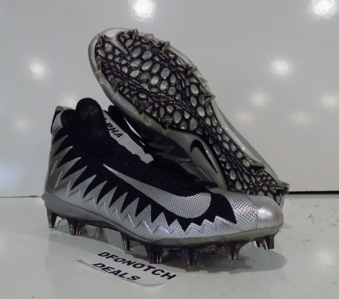 Nike Alpha Menace Pro Mid Football Cleats Sz 15 Silver Black NEW 871451 001