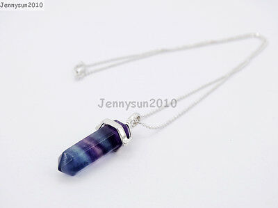 Natural Gemstones Hexagonal Pointed Reiki Chakra Pendant 18K Silver Necklace