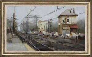 "Hand-painted Original Oil painting art Landscape Railway on Canvas 24""X40"""