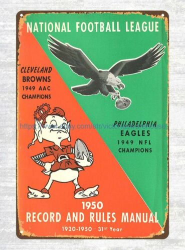 bathroom wall hangings 1950 Cleveland Browns /& Philadelphia Eagles tin sign